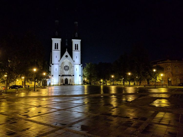 Night Illuminated Reflection Travel Destinations No People Cityscape Outdoors City Ostrava Ostrava City Czech Republic Empty Square Night Lights Religion Water