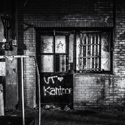 Graffiti on abandoned door