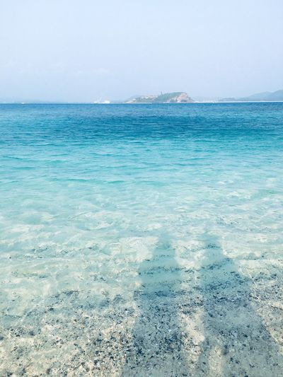 Two shadows on the clear clear blue sea water. Ocean Together Us Sweet Couple Love Sea Scenics Beauty In Nature Water Tranquility Tranquil Scene Nature Horizon Over Water Outdoors Beach Blue