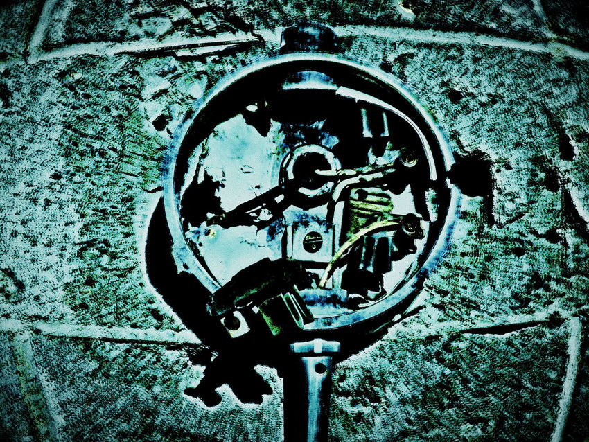 Abstract Art And Craft Badlands Broken Bullet Bulletholes Circle Close-up Creativity Design Detail Meter No People Obsolete Old Old-fashioned Shot Worland Worland WY Wyoming