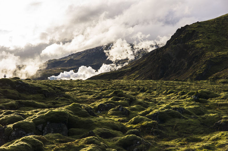 Scenic view of volcanic land against sky, ion hotel , iceland