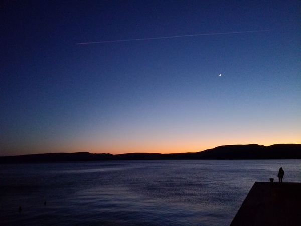 Moment Croatia Karlobag Moon Astronomy Sunset Nature Scenics Beauty In Nature Tranquility Blue Sea Sky Night Star - Space