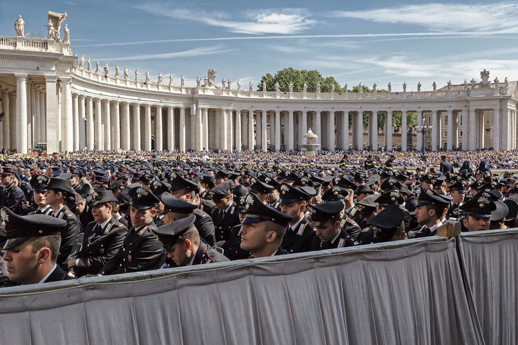 Side View Of Polices Lines Up At St Peters Square