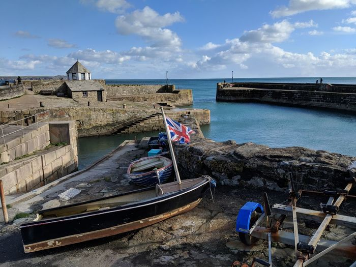 Flying the UK flag 🇬🇧 in Charlestown, Cornwall. Cornwall Cornwall Uk Cornwall Life Charlestown Poldark Water Sea Beach Horizon Over Water Outdoors Cloud - Sky Nautical Vessel Day Sky No People