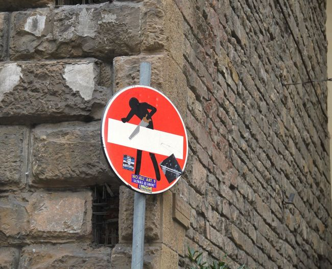 Art Close-up Communication Firenze Florence Florence Signs Guidance Italy No People Outdoors Red Road Sign Sign Wall - Building Feature Warning Sign