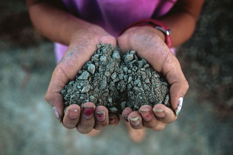 Close-up of woman holding soil