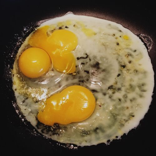 White Yellow And Black Eggs Three Eggs Frying Pan Eggs In Pan Egg Yolks Egg Whites Eggs Cooking Paint The Town Yellow Food Stories