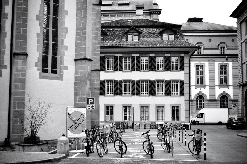 Anarchy Anarchy EyeEm Gallery EyeEm Best Shots My Point Of View Taking Pictures Taking Photos EyeEm Selects EyeEm Best Shots - Black + White Architectural Column Light And Shadow Black & White Blackandwhite Monochrome Black And White Switzerland Old Town Bicycle Cycling City Architecture Building Exterior Built Structure Bicycle Rack Locked Parking Mode Of Transport Building
