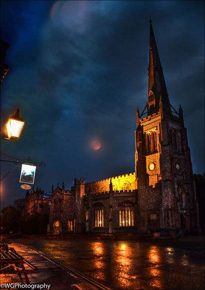 Blood Moon 2018 Blood Red Moon Church Essex Night Photography Night Shot Thaxted Architecture Blood Moon Bloodmoon Building Exterior Clock Tower Dusk Illuminated No People Place Of Worship Religion Spire