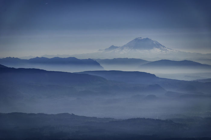 Blue Fog Landscape Mountain Mt. Baker Nature Tranquil Scene