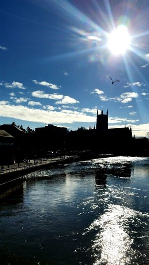 Sunrise Silhouette Riverside River View River Severn River Severn In Worcester Worcester Cathedral Worcestershire Uk