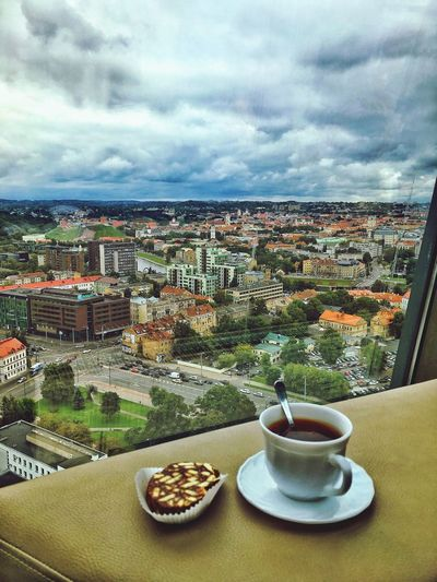 Cup Outoffocus Lithuania Capital Autumn Telia Cloud - Sky Window Architecture Sky Building Exterior Cityscape Built Structure Food And Drink No People Day Coffee - Drink City Indoors  Freshness