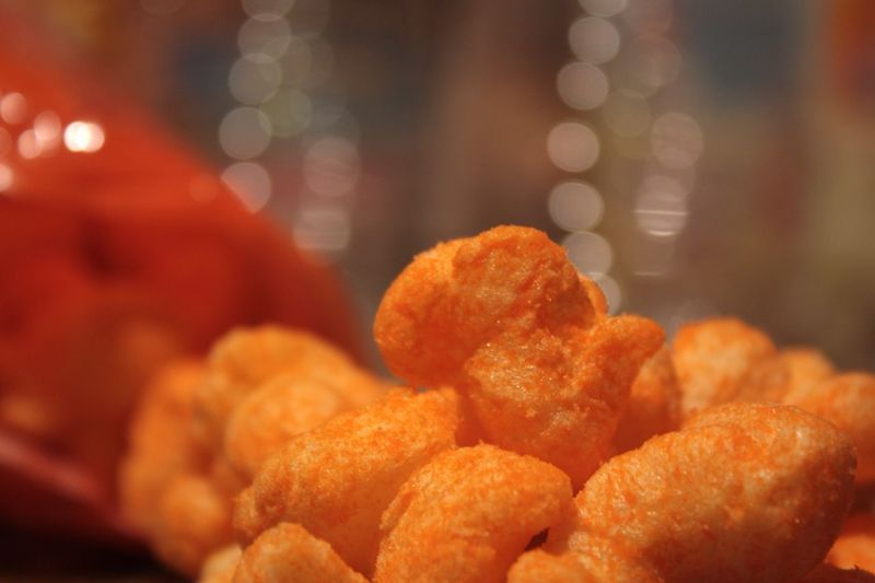 Close-up of cheese puffs