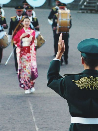 Japanese Girl Conductor Hand Military Parade Singer