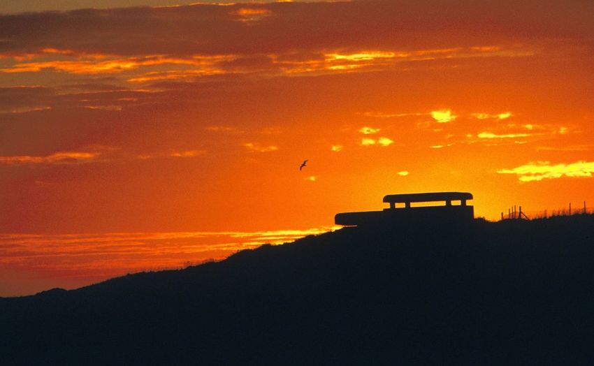EyeEmNewHere Bunker German Occupation Sunset Silhouette Orange Color Sky
