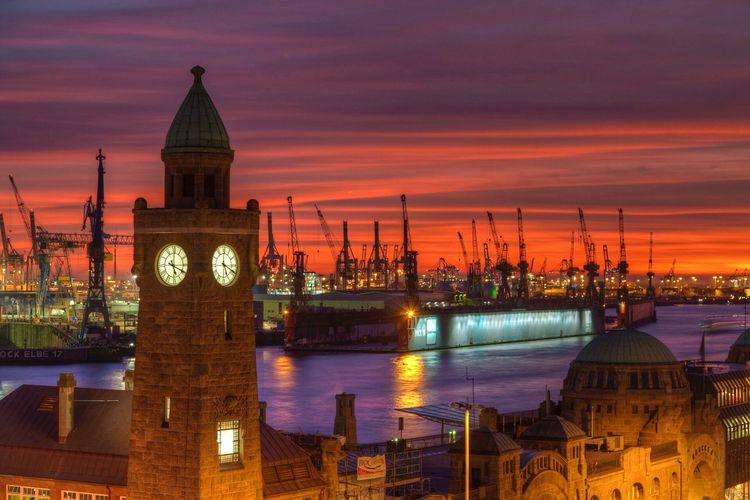 View of port of hamburg at night