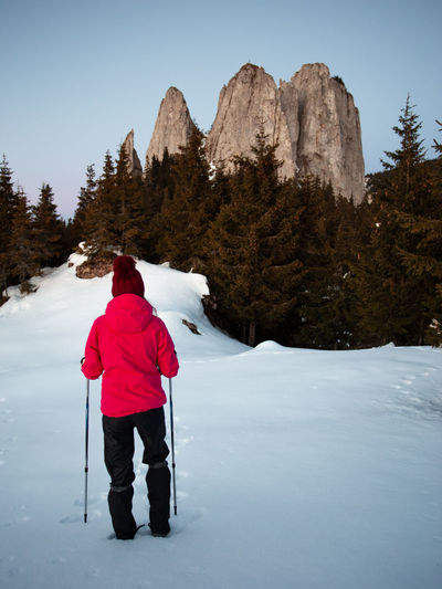 Winter Cold Temperature Mountain Snow Rear View Real People Beauty In Nature Sky Leisure Activity Nature Scenics - Nature One Person Tree Mountain Range Holiday Lifestyles Plant Vacations Clothing Warm Clothing Outdoors Hiking People People Watching Transylvania