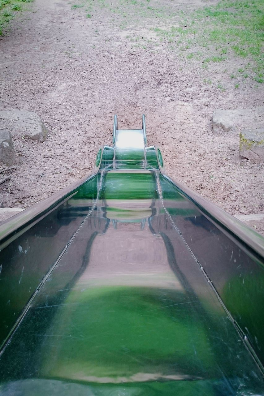 water, high angle view, no people, day, outdoors, green color, water slide, nature