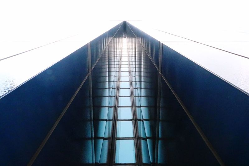 Architecture No People Low Angle View Built Structure Connection Outdoors Day Suspension Bridge Modern EyeEmNewHere Cosmopolitan Art Urban Minimalism Blue Color Wallpaper Low Angle View Architecture