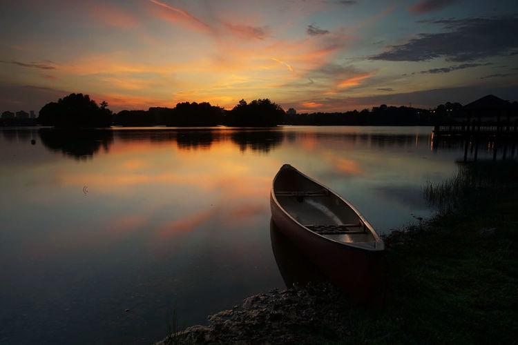 Beautiful sunset at Wetland, Putrajaya Reflection Water Lake Sunset Cloud - Sky No People Tranquility Nature Outdoors Sky Scenics Beauty In Nature EyeEm Selects Landscape Nature Beauty In Nature Nautical Vessel Tree Day
