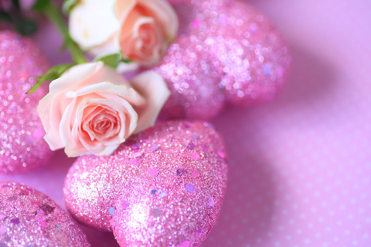 Valentine hearts with glitter and roses Copy Space Glitter Holiday Love Natural Light Polka Dots  Shapes Shiny Things Textures Valentine's Day  Beauty In Nature Close-up Decorative Flower Arrangement Freshness Hearts No People Overhead Pink Color Pink Colors Pink Flowers Room For Text Rose - Flower Studio Shot