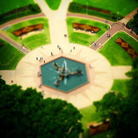 "Another ""miniature"" shot.. this time from Sydney, Australia. Sydney Australia Tiltshift CanonDSLR Canon5D Canonlenses Park Fountain Urbanphotography Dslrphotography DSLR Travels Sydneytower"