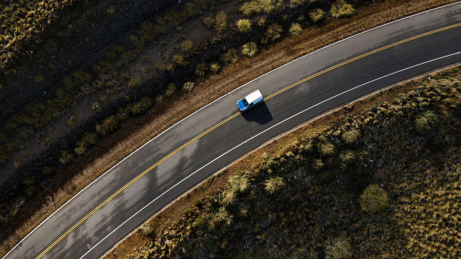 High angle view of car on road