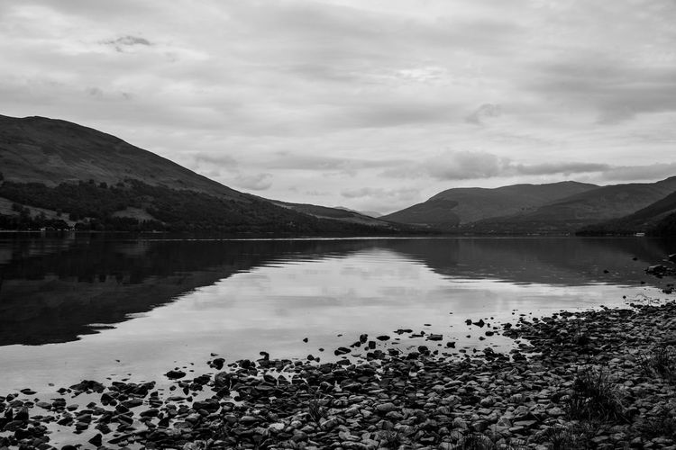 Lomography Neptune Convertible Art Lens System Black And White Blackandwhite Water Sky Mountain Cloud - Sky Scenics - Nature Beauty In Nature Tranquility Lake Tranquil Scene Reflection Nature Mountain Range Non-urban Scene No People Day Idyllic Plant Outdoors Environment