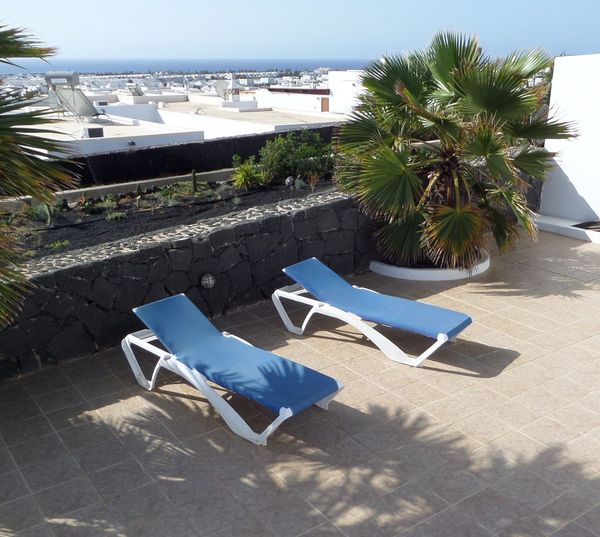 Absence Blue Blue Sky Building Exterior Built Structure Day Horizon View. Lounge Chair Outdoors Palm Tree Sand Sea Sky Summer Summer Holidays Sunbathing Sunbeds On Patio Sunlight Tiled Floor Tiled Patio Two