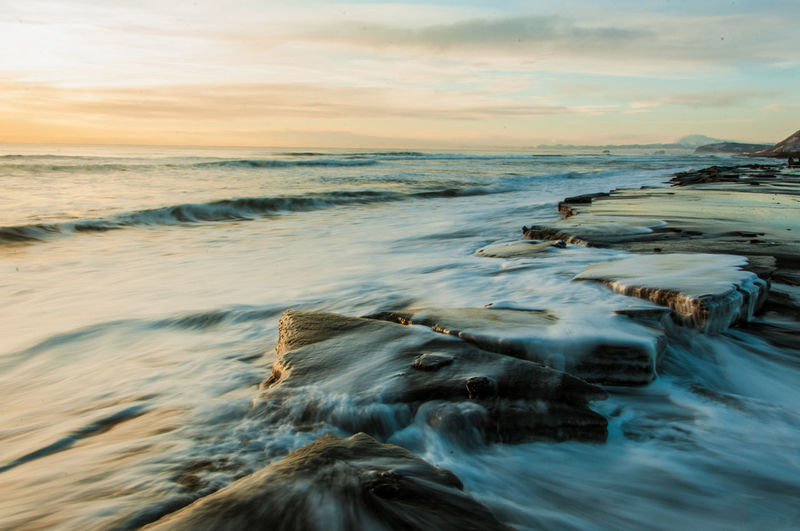 Beach Beauty In Nature Blurred Motion Cloud - Sky Dusk Flowing Horizon Over Water Idyllic Kamchatka Long Exposure Majestic Motion Nature Non-urban Scene Rock - Object Scenics Sea Seascape Sky Sunset Surf Tranquil Scene Tranquility Water Wave