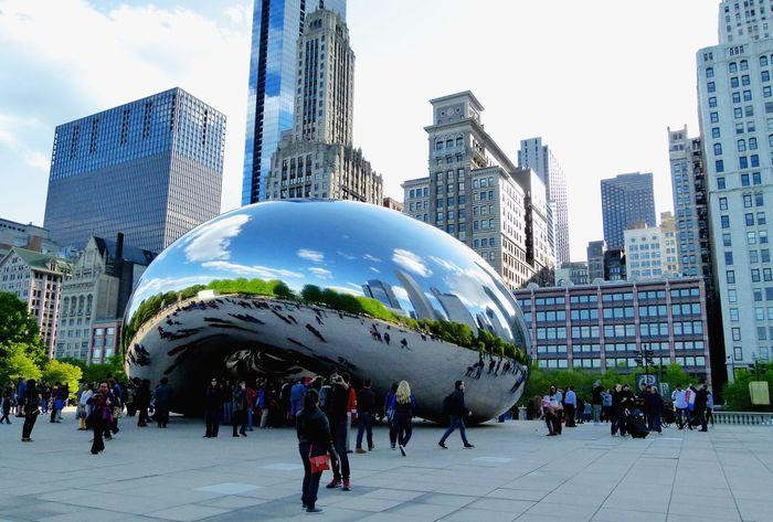 Chicago Bean Cloudgate Skyline