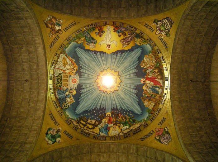 It pays to look up! This is one of the ceiling mosaics in the Basilica of the Shrine of the Immaculate Conception, in Washington, DC. Perspective Photography Architecture Travel Destinations No People Composition Arts Culture And Entertainment Art And Architecture Catholic Church Basilica Ceiling Design Ceiling Art Religious Architecture Religious Images Religious Art Faith Faith In God CatholicLife Catholic Shrine Catholicism Passion Art Is Everywhere Ceiling Basilica Of The National Shrine Of The Immaculate Conception The Architect - 2018 EyeEm Awards The Traveler - 2018 EyeEm Awards