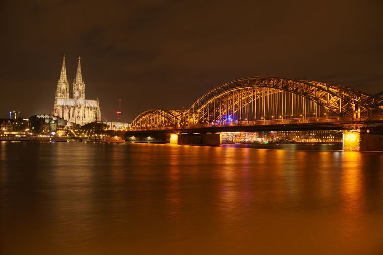 Cologne Architecture Bridge - Man Made Structure Building Exterior Built Structure City Cityscape Cologne Cathedral Cologne Dom Dome Hohenzollernbridge Hohenzollernbrücke Illuminated Night No People Outdoors Sky Travel Travel Destinations Water