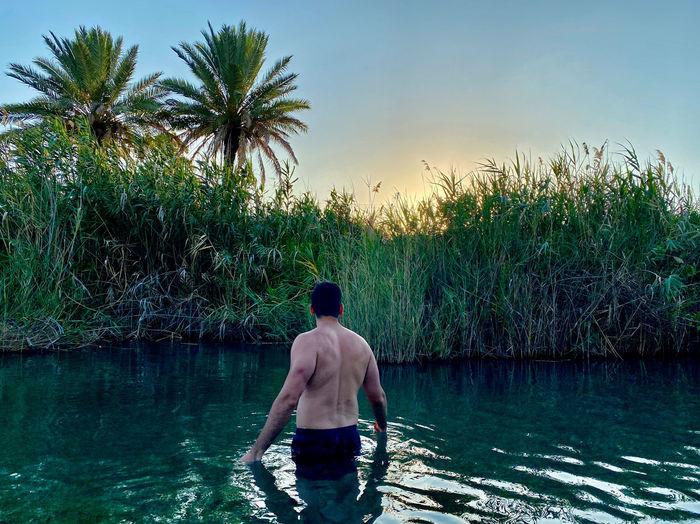 Rear view of shirtless man standing in swimming pool