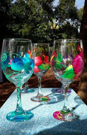 Art show,wine glasses,hand painted.