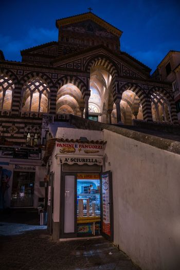 Perspective 2 Amalfi  Amalfi Coast Bella Italia Italy Duomo Di Amalfi Blue Hour EyeEm Selects Architecture Built Structure Building Exterior Illuminated History The Past Building Travel Destinations Night Entrance Travel Tourism Religion Low Angle View City