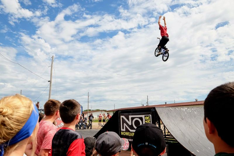 Nowear BMX Team Nebraska State Fair September 1, 2018 Grand Island, Nebraska Camera Work Check This Out EyeEm Best Shots FUJIFILM X-T1 Fujinon 10-24mm F4 Getty Images Grand Island, Nebraska Nebraska State Fair NowearBMX Photojournalism Action Action Shot  Adventure Bicycle Bmx  Bmx Cycling Cloud - Sky Crowd Day Events Extreme Sports Eye For Photography Freestyle Group Of People Jumping Leisure Activity Lifestyles Men Mid-air Motion Nature People Real People RISK S.ramos September 2018 Series Skill  Sky Spectator Sport Stunt Transportation Watching