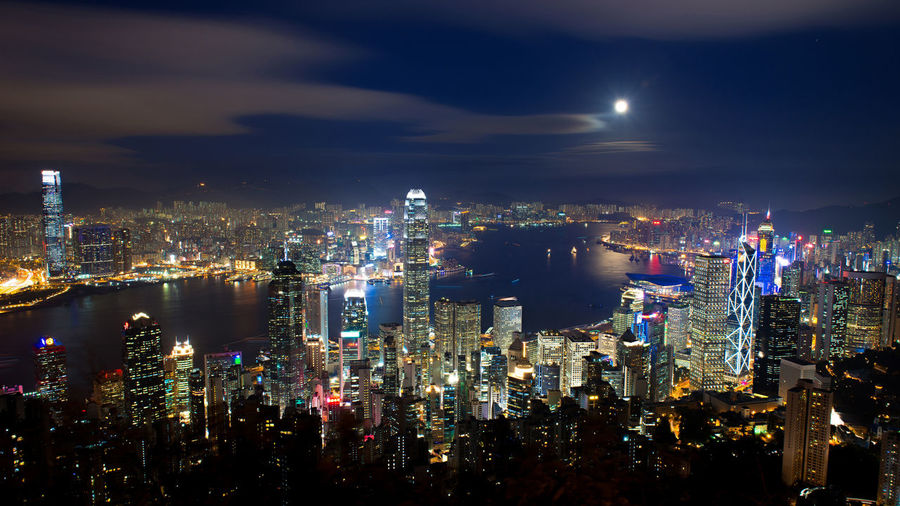 Aerial view of hong kong cityscape at night