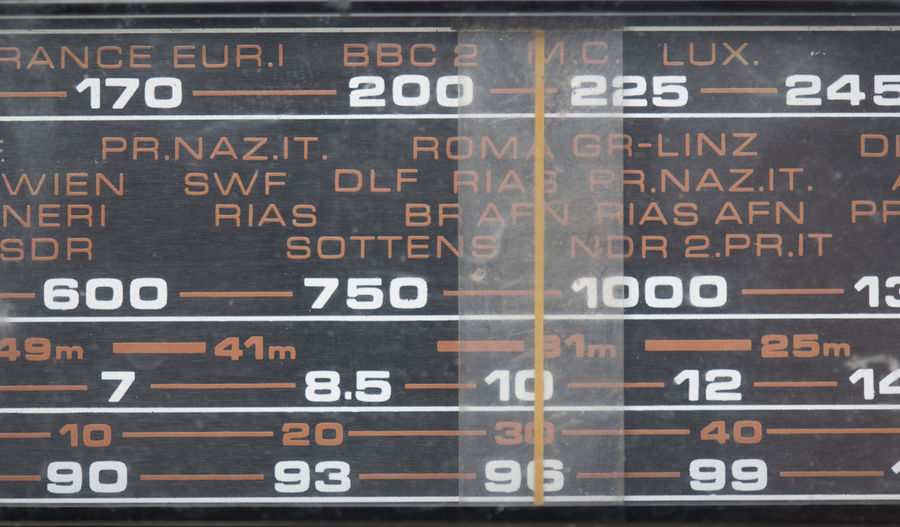 Analogue Sound Number Close-up Board Technology Global Communications Day Radio Old Antique Control Panel Display High Frequency Frequency Front View Music Information Panel Screen Tuner 70s 80s Fm Stereo Wave