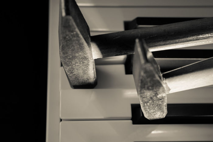 Keyboard Changed Into a Piano forte Black And White Close-up Day Hammers Illuminated Indoors  Keyboard Monochrome Photography No People Piano Moments