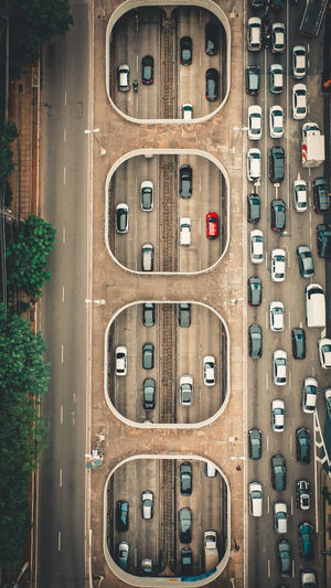 High angle view of cars moving on street in city