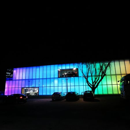 rainbow building Showroom Cars Buildings Architecture New Arch The Graphic City Night Transportation No People Outdoors Illuminated City Sky