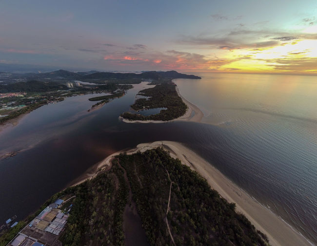 Aerial view of sea during sunset