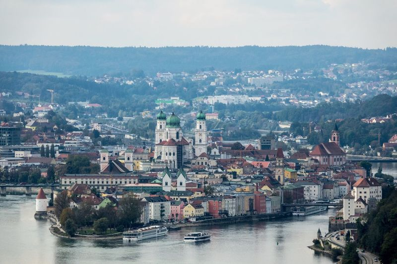 Passau Architecture Building Exterior River Built Structure City Cityscape Water Transportation No People Waterfront Residential Building Outdoors Nautical Vessel Day Tree Sky AMP PICTURES