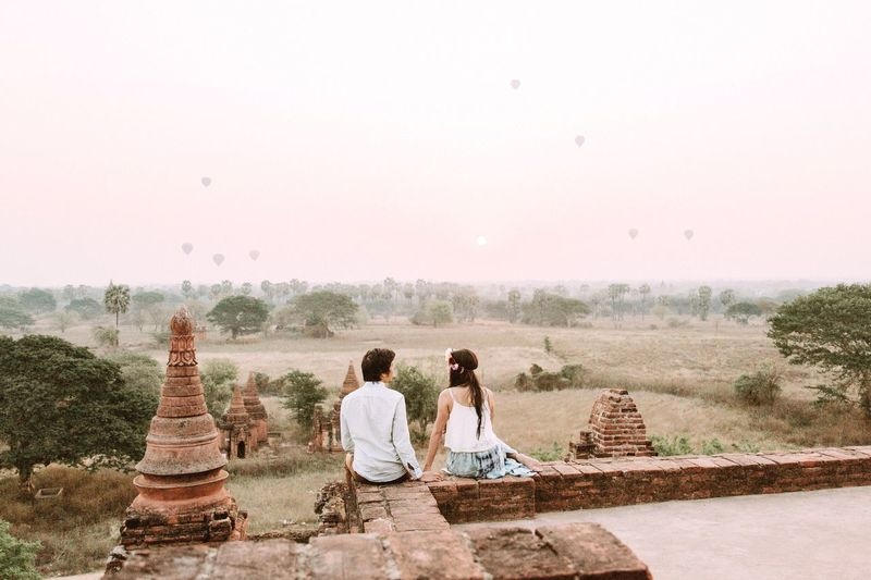 Be. Ready. Sunrise in Bagan. Spirituality Beauty In Nature Togetherness Travel Destinations Adventure Buddies Serene Outdoors Bagan, Myanmar Old Ruin Myanmar Temple Architecture Early Morning Morning Light Surreal Honeymoon Married Couple Travelers Airballoons Good Morning!