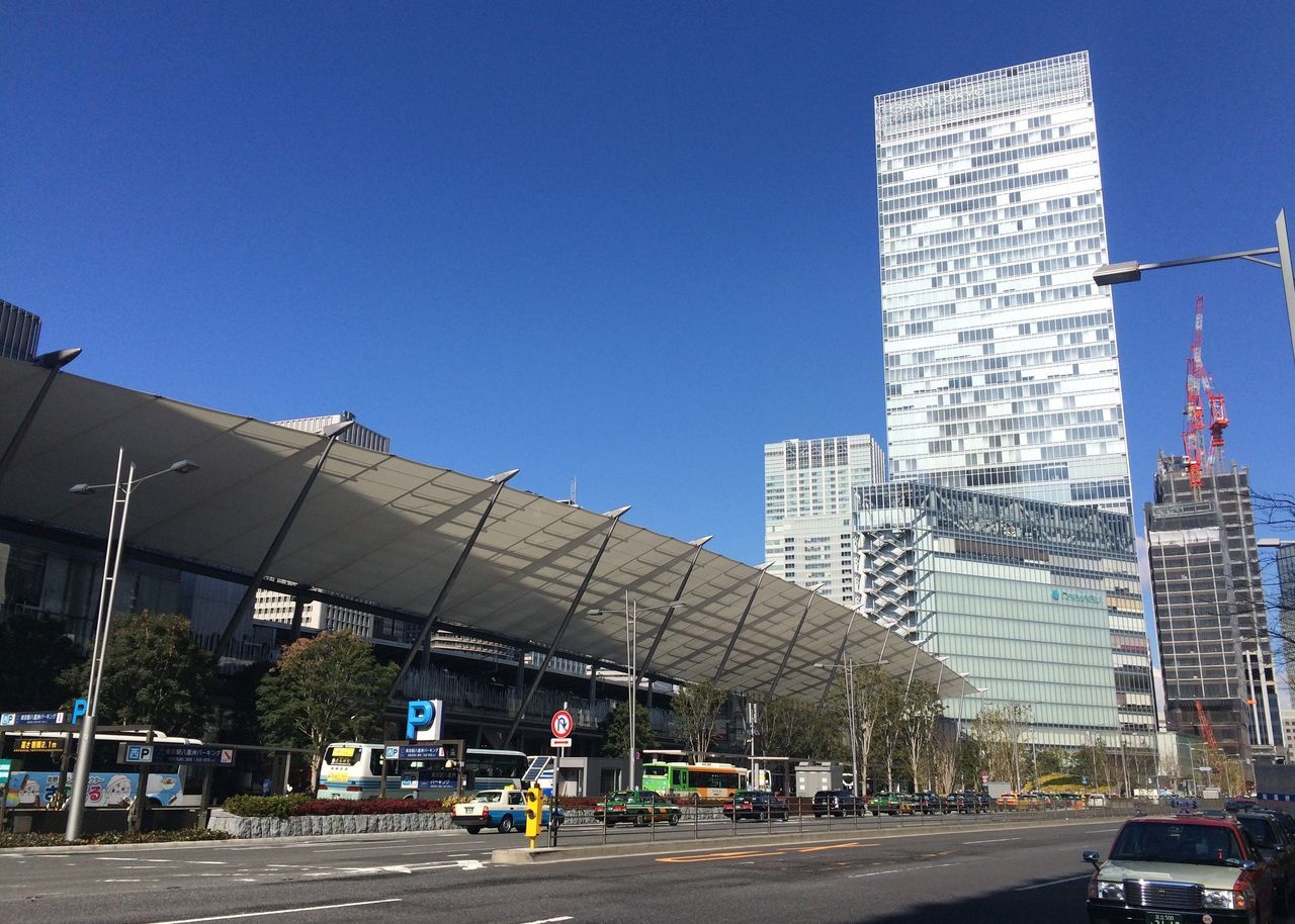 Railroad Station Against Clear Blue Sky In City