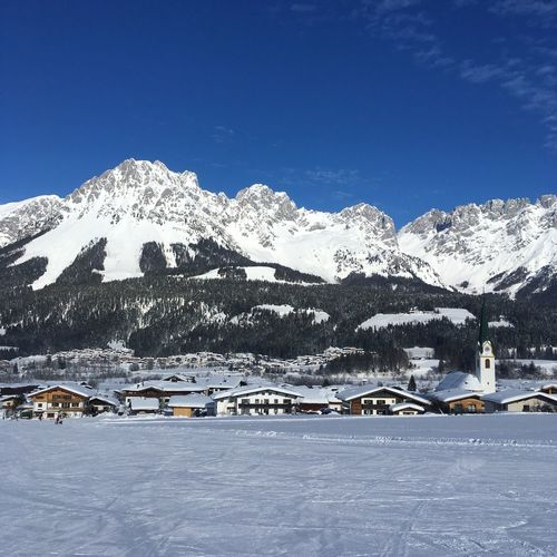 Snow Winter Cold Temperature Mountain Sky Scenics - Nature Beauty In Nature Snowcapped Mountain Building Exterior Nature Mountain Range Architecture Building Blue Built Structure Day Environment Landscape Outdoors Mountain Peak Ski Resort  Skiing Tyrol