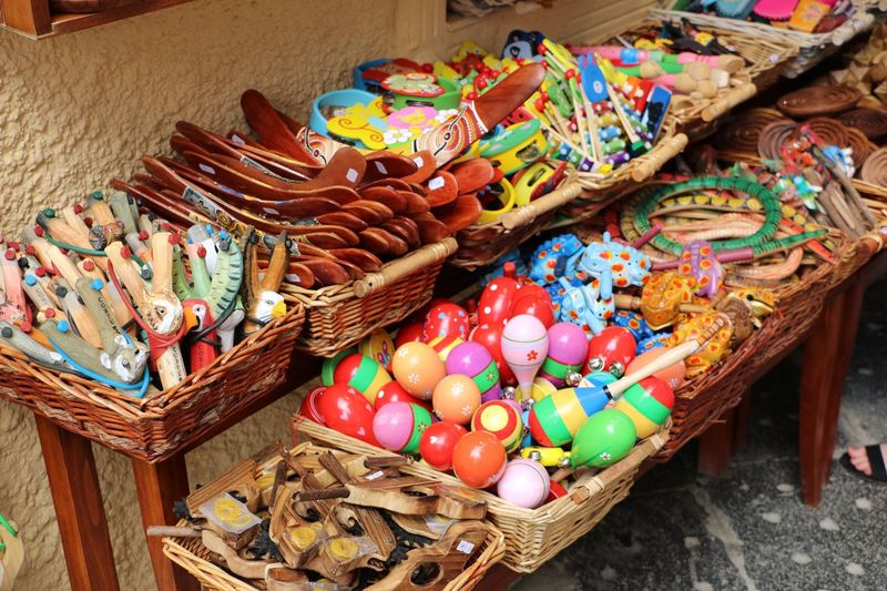 High angle view of candies in basket on table