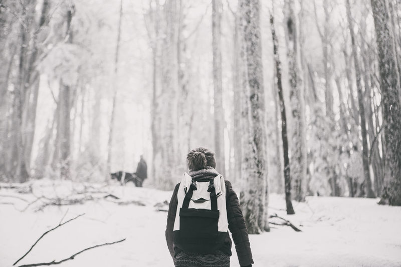 Beauty In Nature Black And White Blackandwhite Cold Temperature Forest Forest Photography Full Frame Full Length Hasselblad Hikingadventures Leisure Activity Lifestyles Nature One Person Outdoors Real People Rear View Snow Sport Travel Tree Walking Around Warm Clothing Weather Winter