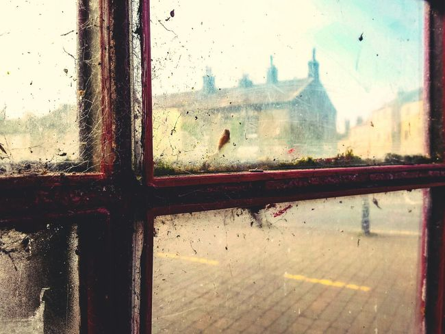 Fine Art Photography 43 Golden Moments Day Trip Tourists North Yorkshire Gargrave Village Phone Box Frame Framed Architecture Houses Rooftops Red Architectural Detail Art Abstract Landscape Cobwebs Atmospheric Mood POV In The Box Looking Out Window Windows